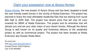 Claim your possession now at Ajnara Homes