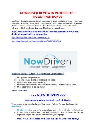 NowDriven Review-(GIANT) bonus & discount
