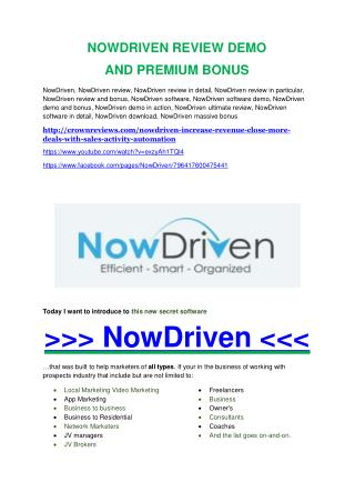 NowDriven review in detail and (FREE) $21400 bonus