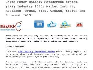 China Power Battery Management System (BMS) Industry 2015 Market Research Report