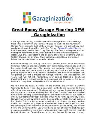Great Epoxy Garage Flooring DFW - Garaginization