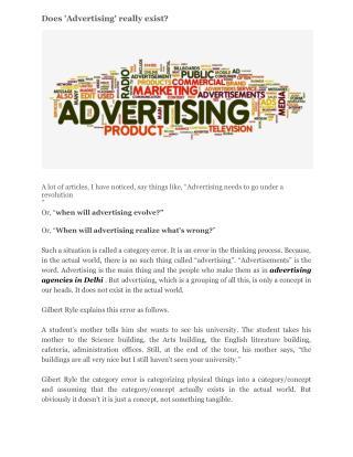 Does 'Advertising' really exist?