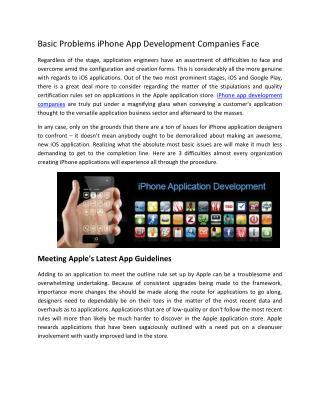 Basic Problems iPhone App Development Companies Face