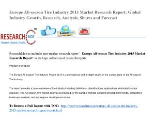 Europe All-season Tire Industry 2015 Market Research Report