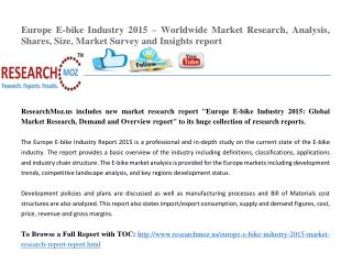 Europe E-bike Industry 2015 Market Research Report