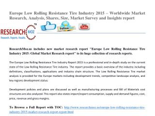 Europe Low Rolling Resistance Tire Industry 2015 Market Research Report