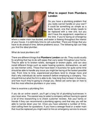 What to expect from Plumbers London