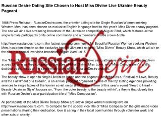 Russian Desire Dating Site Chosen to Host Miss Divine Live Ukraine Beauty Pageant