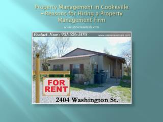 Property Management in Cookeville � Reasons for Hiring a Property Management Firm