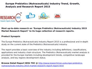 Europe Prebiotics (Nutraceuticals) Industry 2015 Market Research Report
