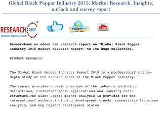 Global Black Pepper Industry 2015 Market Research Report