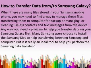 How to Transfer Data from/to Samsung Galaxy?