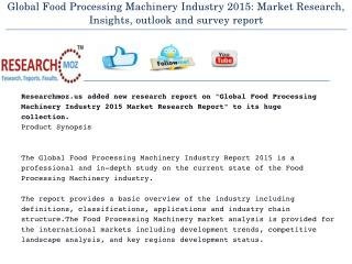 Food Processing Machinery Global Industry 2015 Market Research Report