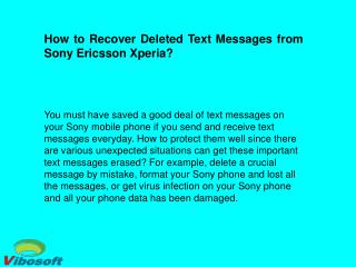 Easy Way to Recover Deleted SMS Messages from Sony Ericsson Xperia