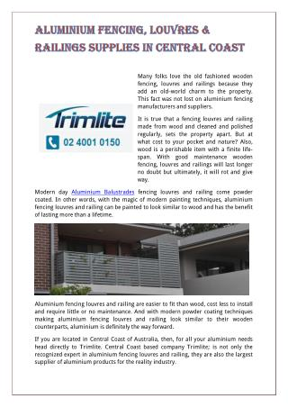 Aluminium Fencing, Louvres & Railings Supplies in Central Coast