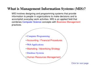 What is Management Information Systems MIS