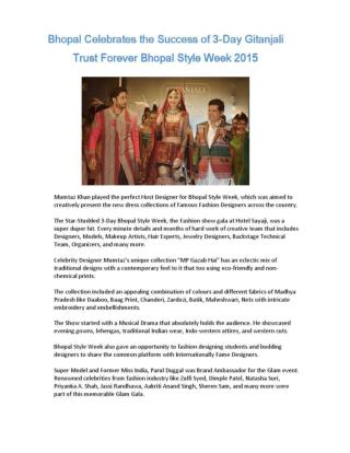 Bhopal Celebrates the Success of 3-Day Gitanjali Trust Forever Bhopal Style Week 2015