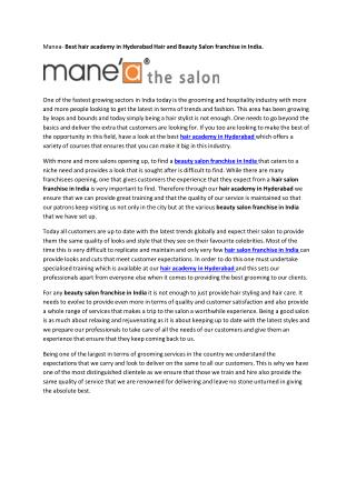Hair and Beauty Salon franchise in India