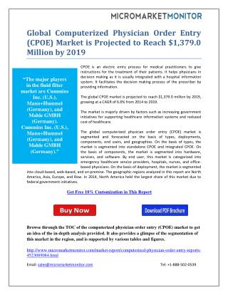 Global Computerized Physician Order Entry (CPOE) Market is Projected to Reach $1,379.0 Million by 2019