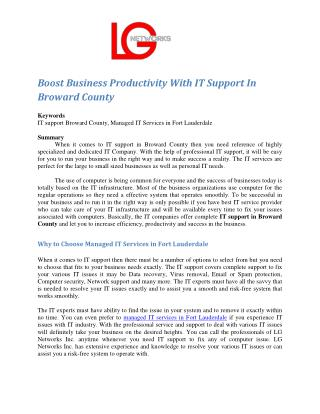 Boost Business Productivity With IT Support In Broward County