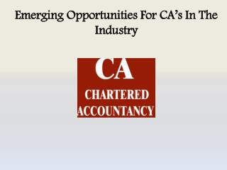 Emerging Opportunities For CA's In The Industry