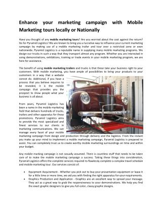 Enhance your marketing campaign with Mobile Marketing tours locally or National