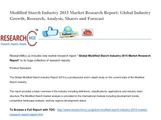 Global Modified Starch Industry 2015 Market Research Report