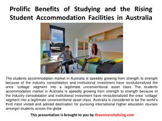 Prolific Benefits of Studying and the Rising Student Accommodation Facilities in Australia