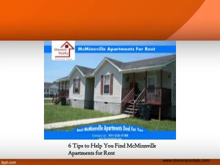 6 Tips to Help You Find McMinnville Apartments for Rent