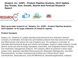 Hospira, Inc. (HSP) - Product Pipeline Analysis, 2015 Update