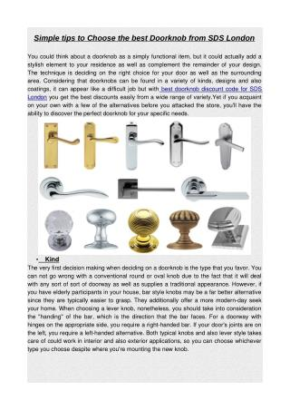 Simple tips to choose the best doorknob from sds london