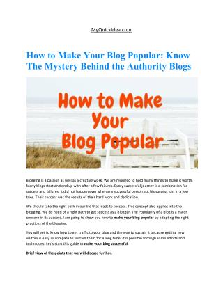 How to Make Your Blog Popular: Know The Mystery Behind the Authority Blogs