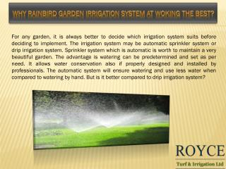 Why Rainbird Garden irrigation System At Woking The Best?