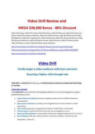 Video Drill Review-(FREE) $32,000 Bonus & Discount