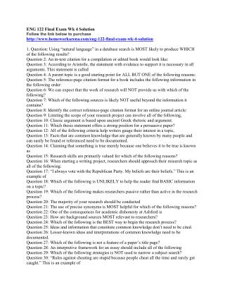 ENG 122 Final Exam Wk 4 Solution