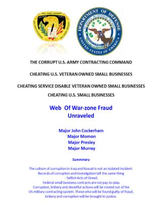 Blog 47 USMC 20150725  Web of War-zone Fraud Unraveled