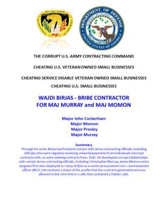 Blog 49 USMC 20150725 WAJDI BIRJAS - BRIBE CONTRACTOR FOR MAJ MURRAY and MAJ MOMON