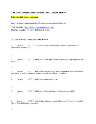 ACC 555 Midterm Exam Solution