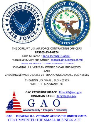 Blog 60 USAF 20150810 PRE-AWARD GAO PROTEST AGAINST DEPARTMENT OF AIR FORCE VIOLATING SMALL BUSINESS ACT  FA5209-15-T-0