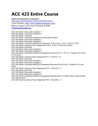 ACC 423 Complete Course