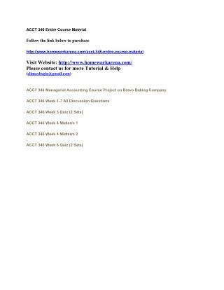 ACCT 346 Complete Course Materia