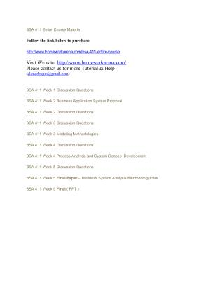 BSA 411 Complete Course Material