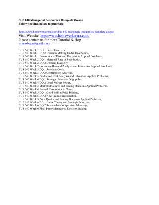 BUS 640 Managerial Economics Complete Course