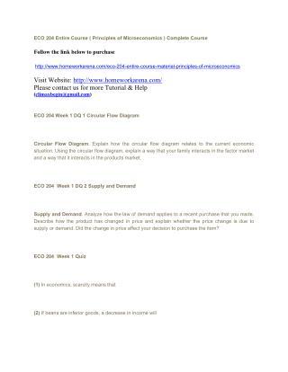ECO 204 Entire Course ( Principles of Microeconomics )