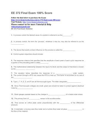 EE 372 Final Exam Solution