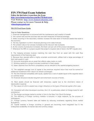 FIN 370 Final Exam Solution