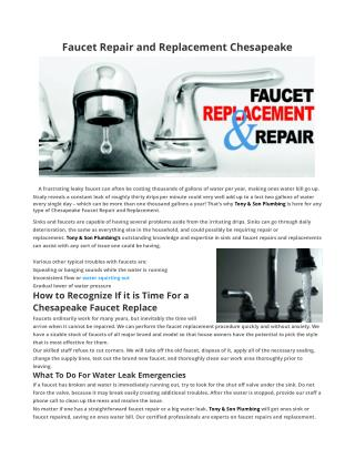 Faucet Repair Chesapeake