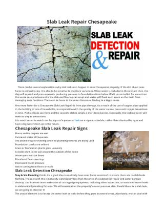 Slab Leak Repair Chesapeake VA