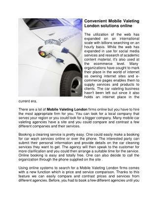 Convenient Mobile Valeting London solutions online