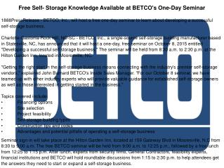 Free Self- Storage Knowledge Available at BETCO's One-Day Seminar